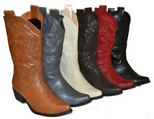 Womens Cowboy Boots in 6 Colors, Black, Beige, Brown, Dark Brown, Red, Gray, HOT