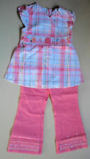 GYMBOREE Girls 2pc Set Pretty Check Top & Coral Coloured Jeans Size 3 & 4 BNWT