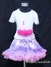 Light Purple Pink Pettiskirt with Hot Light Pink Rose Birthday Cake Tank Top1-8Y