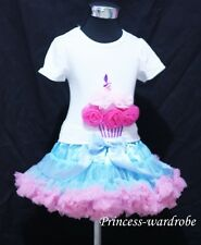 Light Blue Pink Pettiskirt with Hot Light Pink Rose Birthday Cake Tank Top 1-8Y