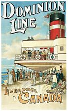 """Domino Line- Liverpool to Canada - 24""""x36"""" Vintage Travel Poster on Canvas"""