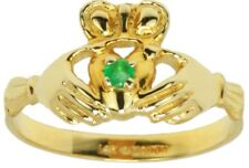 New Ladies Yellow or White Gold Genuine Emerald Celtic Irish Claddagh Ring