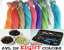 MULTI COLOR Grizzly Feather Hair Extensions Micro Beads Hook Piler Kit Synthetic