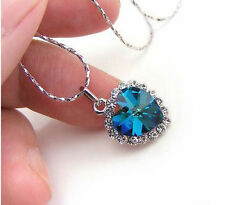 HEART OF THE OCEAN TITANIC STYLE Necklace Pendant CRYSTAL SAPPHIRE (ARTIFICIAL)