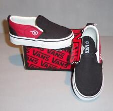 Vans Toddler Boy's Asher Black Red Canvas Slip On SO Skate Shoes SIZES! NIB