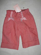 Gymboree VENICE SWEETIE Red Chambray Ribbon Bow Button Cuff Pants NWT 3-6