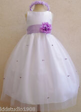 NEW WHITE LILAC LAVENDER BABY FLOWER GIRL PARTY DRESS S M L XL 2 4 6 8 10 12 14