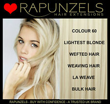 "16"" 20"" 24"" human remy hair extensions weft/weave lightest white blonde 60"