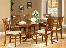 "9PC OVAL DINING SET, TABLE 42""X78"" with 8 CHAIRS IN SADDLE BROWN FINISHED"