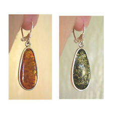 BALTIC HONEY or GREEN INLAID AMBER & STERLING SILVER MODERN EURO HOOK EARRINGS