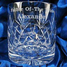 NEW PERSONALISED ENGRAVED CRYSTAL WEDDING PARTY WHISKY GLASS TUMBLER GIFT BOXED