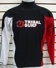 MENS SPF 50 SURF SHIRT RASH GUARD LONG SLEEVE SMALL THRU 2XL RGMLS BLACK/ RED
