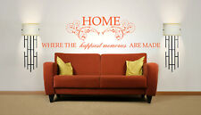 Home Happiest Memories Quote, Vinyl Wall Art Sticker Decal, Mural. Family Quote