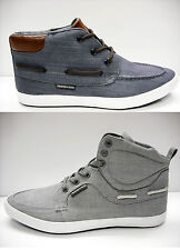 MENS TWISTED FAITH HIGH TOP CANVAS BOOTS TRAINERS BOAT DECK SHOES BLUE GREY