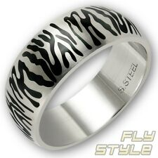 EDELSTAHL DESIGNER RING ANIMAL TIGER STREIFEN ZEBRA STRIPES RockAbillY LeO RocK