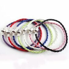 HOT SALE LEATHER BRAIDED LOVE CHARM BRACELET FOR BEADS 20CM COLORFUL OPTION