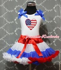 Red White Blue Pettiskirt White Pettitop wif Patriotic Heart Blue Bows Set 1-8Y