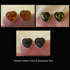 BALTIC CHERRY or HONEY AMBER & STERLING SILVER HEART STUD EARRINGS