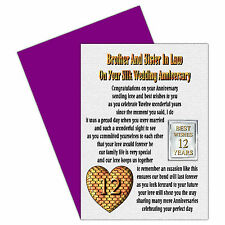 Brother & Sister In Law 1st - 24th - Your Wedding Anniversary Card & Magnet Gift