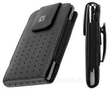 Leather VERTICAL Case Cover Pouch for LG Phones. Black + Holster Belt Clip, New*