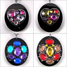 Big Colourful Retro Rainbow Beatnik Mod Eames Ossie Heart Oval Black Gem Pendant