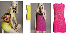 Versace for H&M UK 8 10 12 14 Pink Yellow Studded Dress Minidress New Tags BNWT