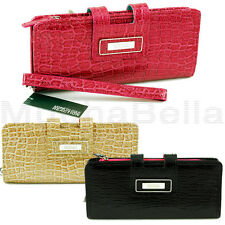 KENNETH COLE REACTION WOMENS TAB CLUTCH WALLET/WRISTLET CROCO COLOR-BLOCKED HOT!