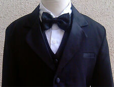 BT01  NEW BLACK BOY TUXEDO 5PC SET W/ BOW TIE FORMAL  SUIT SIZE  S  TO 20