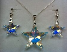 Crystal Stars Sterling Silver Necklace Earrings Set Made With SWAROVSKI ELEMENTS