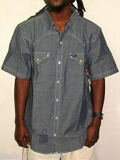 L-R-G LIFTED RESEARCH GROUP Button Up Shirt New High Moon Solid Blue Choose Size