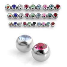 Spare Set Gem Crystal Balls -  Belly / Nipple / Tragus / Labret  / Tongue Bars