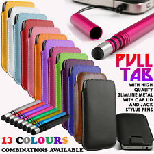 PULL TAB SLIDE IN POUCH+SLIMLINE METAL STYLUS PEN FOR SAMSUNG GALAXY CHAT B5330