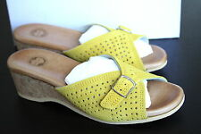 Anthropologie Ramona Buckle Slides Sz 39, Yellow Suede, Cork Heel By Lucky Penny