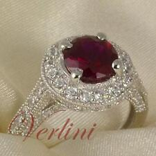 2.75 Ct Round Cut Silver Wedding Ring Red Ruby Simulated Women Jewelry Size 5-10