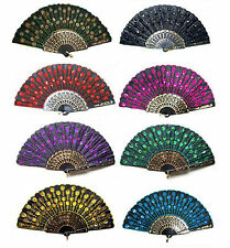 Lots 11Color for choose Lady's embroider hand exquisite Folding Peacock lace fan