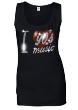 I LOVE 90s NINETIES MUSIC CRYSTAL RHINESTONE LADIES VESTS TANK TOPS .. all sizes