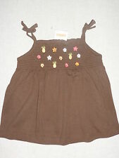 Gymboree ALOHA SUNSHINE Brown Smocked Pineapple Flower Swing Tank Top Shirt NWT