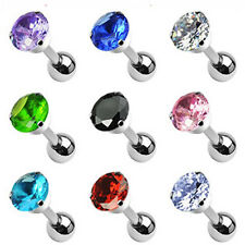 "1 - 16 Gauge 1/4"" 5mm Round CZ Prong Tragus Piercing Earring Stud 10 Colors A78"