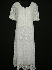 FAB CREAM LACE LACY DRESS AND JACKET SUIT, BRAND NEW SIZE 12 14 16 18 20 22
