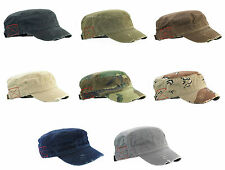 NEW DISTRESSED CASTRO CADET MILITARY STYLE ARMY HAT MANY COLORS AVAILABLE
