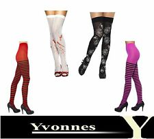 Ladies Halloween Black White Red Fancy Dress Costume Stockings Tights