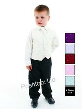 Boys 4pc Cream & Black Formal Suit Wedding Pageboy (0-3months - 8-9years)