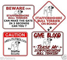 STAFFORDSHIRE BULL TERRIER NOVELTY CAR & WINDOW SIGNS - DOG BEWARE   STAFF