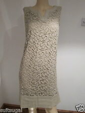 NEW EX MONSOON TAUPE CARAMEL CHANTILLY LACE SHIFT DRESS WEDDING SZ 8 10 12 14 16