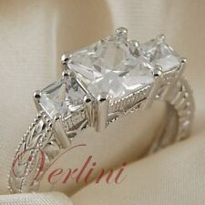 2.15 Ct Princess Cut AAA Cubic Zirconia Wedding Engagement Ring Silver Size 5-10