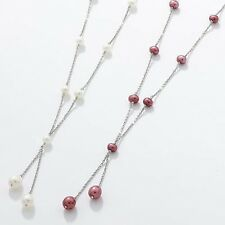 E654 Multi Pearl Lariat Necklace Pink OR White Sterling Silver Chain Dainty NEW