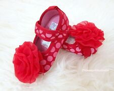 Toddler Girl Hot Reds Polka Dot Infant Baby Crib Shoe wif Hot Red Rose 0-18Month
