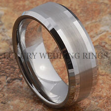 Tungsten Mens Ring Infinity Wedding Band Titanium Color Bridal Jewelry Size 6-13
