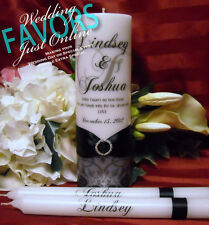 Unity Candle With Tapers Personalized Flourish Design - 10 colors available