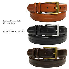 "Mens Genuine Cowhide Oil-Tanned Leather Dress Casual Belt 1-1/8"" Wide"